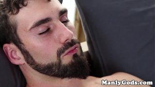 Gay hunk duo cream the strawberries together