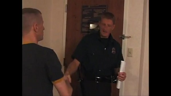 Red hot police pecker whacking horny stud in gay hardcore sex
