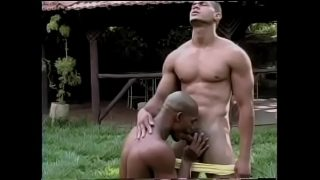 Bald black lavender Alan Blacklikes when his friend splits his buns on the lawn behind the mansion